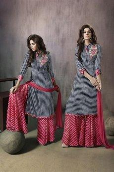 Mugdha Black and pink palazzo suit