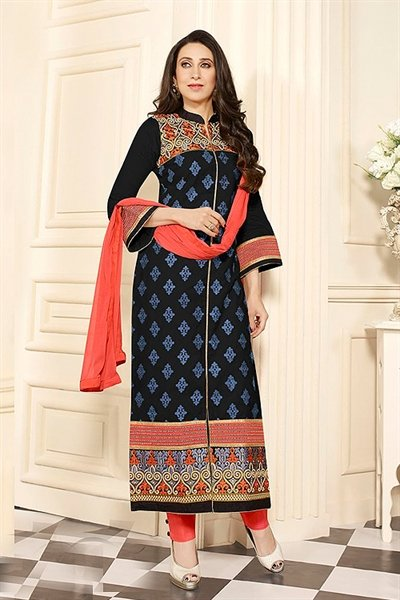 Black Printed Cotton Salwar Kameez By Karishma