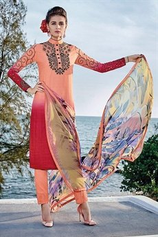 Peach Cotton Jacquard Salwar Suit