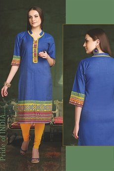 Elegant Cotton Kurti In Navy Blue