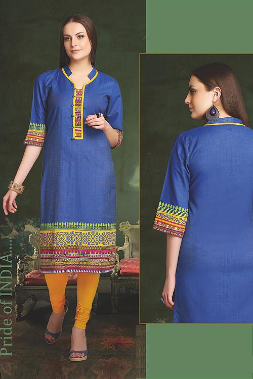 Elegant Cotton Kurti In Navy Blue
