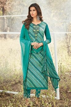 Beautiful Green Cotton Lawn Suit With Digital Print & Chikan Embroidery Sleeves