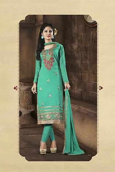 Jade Green Embroidered Chanderi Cotton Churidar Salwar Kameez Suit