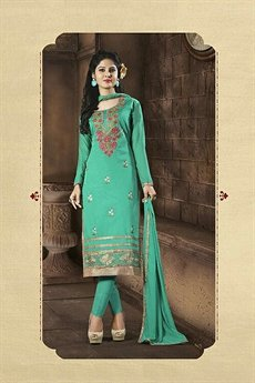 Jade Green Embroidered Chanderi Cotton Churidar Salwar Kameez Suit