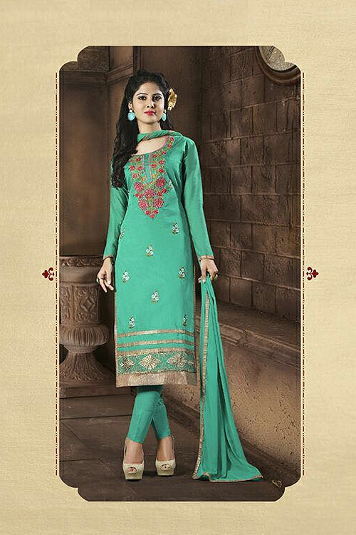 Chanderi Cotton Churidar Salwar Kameez Suit in Jade Green