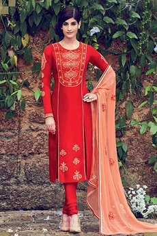 Red Embroidered Palazzo Suits