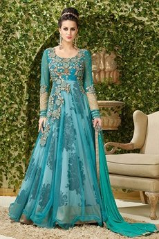 Elegant Teal embroidered lehenga Anarkali suit.