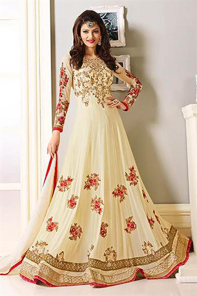 Royal Cream Red and Gold Embroidered Georgette Designer Anarkali Suit