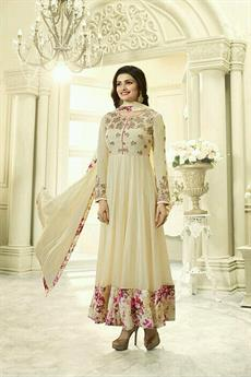 Gorgeous Cream Floral Printed Anarkali Suit