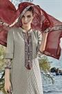 Light Pale Brown Chikankari Work Cotton Straight Cut Salwar Suit