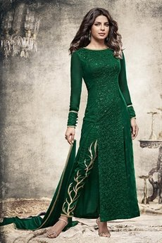 Glam Bottle Green Long straight Designer salwar kameez