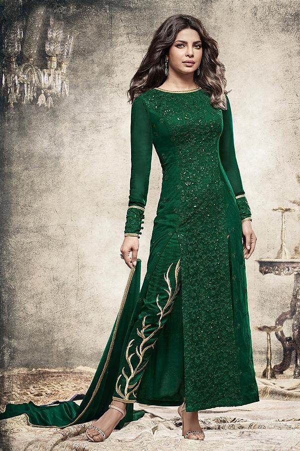 Glam Bottle Green Long straight Designer salwar kameez