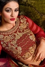 Beautiful Beige and Ruby Red Gold Embroidered Velvet & Net Lehenga Choli
