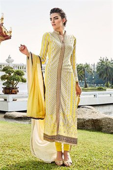 Yellow Embroidered Pure Georgette Embellished Straight Cut Suit