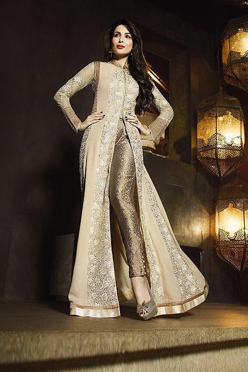 Beige Glossy Malaika Arora Khan Heavy Embroidery Anarkali Suits