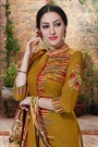 Rusty Brown Printed Georgette Palazzo Straight Cut Suit With Printed Dupatta
