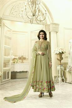 Royal Beige Floral Anarkali suit