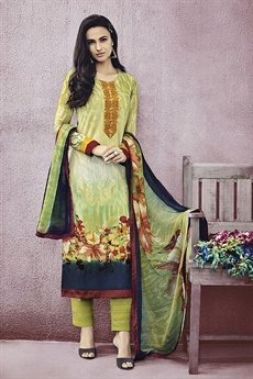 Green Lawn Printed Straight Cut Salwar Suit