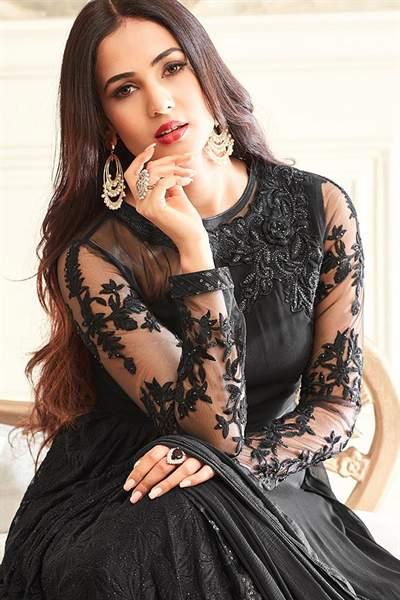 Hot Sizzling Black Net Embroidered Georgette Designer Long Anarkali Suit