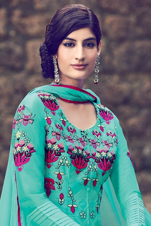 Sea Green Embroidered Palazzo Salwar Kameez