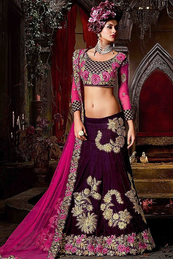 Wine & Raspberry Pink colour Lehenga with matt gold embroidery