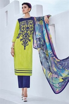 Lime Green Designer Cotton Jacquard Salwar Suits