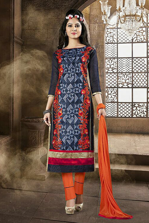 Sanskruti Elegant Chanderi Cotton Churidar Suits With Embroidery Blue & Red