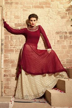 Maisha Maroon Georgette Heavy Embroidery Designer Anarkali Suits