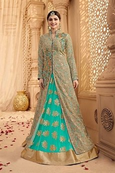 Beige and Turquoise Green Heavy Embroidered Lehenga Suit
