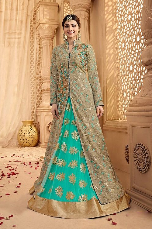 Royal Gray-green and turquoise heavy embroidered lehenga suit