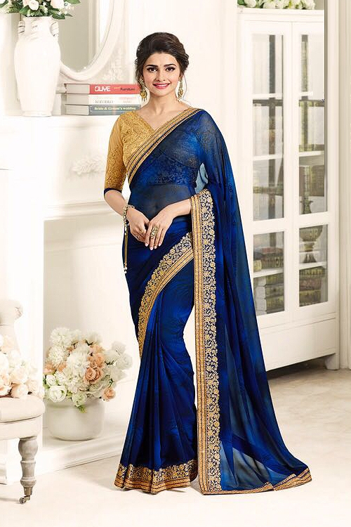 Ink Blue Luxe Georgette Saree