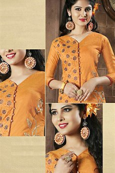 Chanderi Cotton Churidar Salwar Suit in Saffron Color