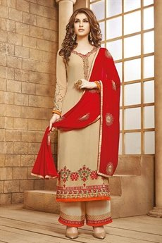 Stunning Beige Red Palazzo Suit with Embroidery