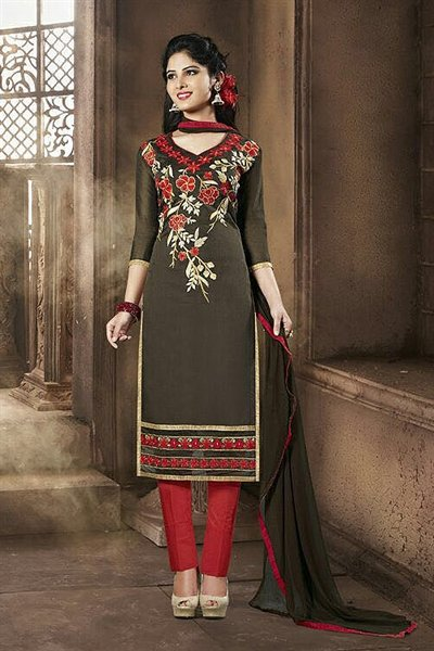 Dark Brown & Red Embroidered Chanderi Cotton Salwar Suits