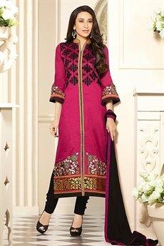 Zankar By Karishma Cotton Salwar Kameez Magenta
