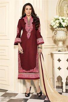 Zankar By Karishma Cotton Salwar Kameez Maroon