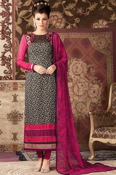 Raaga Pink and black embroidered and printed straight long suit