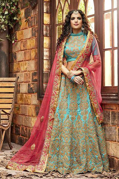Elegant Pink and Turquoise Green Heavy Embroidered Chanderi Silk Designer Lehenga