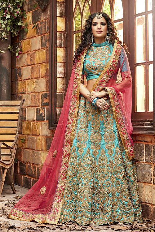 Elegant Pink and Turquoise Green Heavy Embroidered Chanderi Silk Designer Lehenga