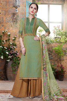Haya Charming And Beautiful Plazzo Straight Cut Suit With Printed Dupatta In Spring Green