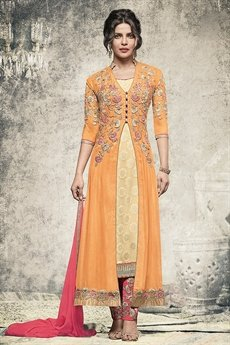 Glamorous yellow and pink straight cut suit