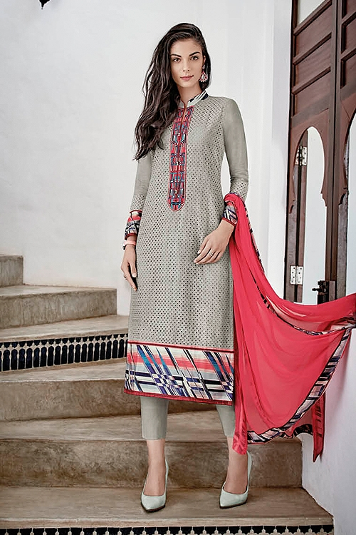 Grey Chikankari Work Straight style Salwar Churidar Suits