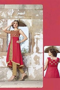 Hot Lady Impressive Georgette Designer Kurti In Light Red and Beige