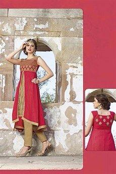 Hot Lady Impressive Georgette Designer Kurti In Light Red and Beige