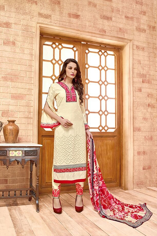 Cream embroidered Salwar Suit with pure chiffon dupatta