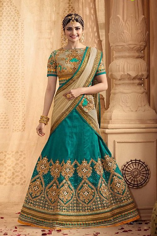 Stunning and Luxe Teal Green Heavy Embroidered Lehenga Set