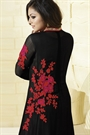 Red and Black Glam Thread Embroidered Georgette Long Anarkali Suit