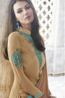 Ayka Designer Georgette Straight Cut Churidar Suit In Beige
