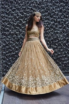 Gold Zoya Pure Net With Heavy  Embroidery Anarkali Suits