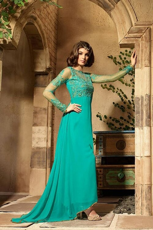 Turquoise Blue Colour Georgette Embroidery Designer Suit